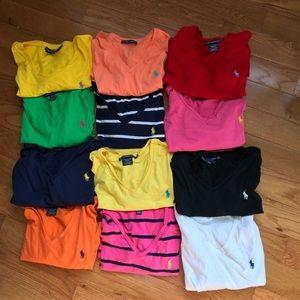 Lot of Ralph Lauren Polo v-neck t-shirts size XL